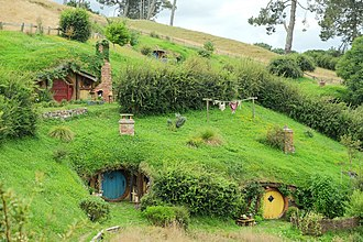 "Tolkien tourism - The Lord of the Rings ""Hobbiton"" movie set was renovated and re-used for The Hobbit trilogy and is now maintained to that standard for movie set tours"