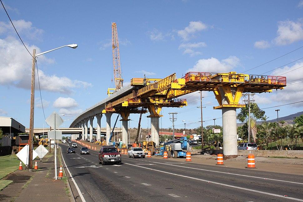 Honolulu rail project construction in Waipahu near Fort Weaver Road 2015-07-29