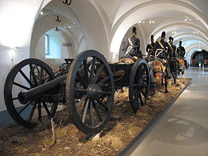 Horse artillery - A lifesize model of a Swedish 1850s horse artillery team towing a light artillery piece, in the Swedish Army Museum, Stockholm.