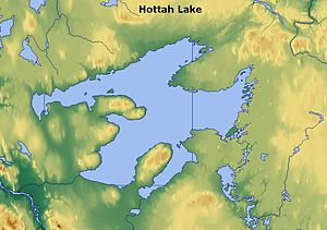 Hottah Lake - This image shows Great Bear Lake and the surrounding region. The much smaller Hottah Lake is seen here as the largest body of water lying to the south-east of Great Bear Lake