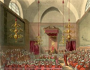 Nobility - The House of Lords of the United Kingdom of Great Britain and Ireland (old chamber, burned down in 1834) as drawn by Augustus Pugin and Thomas Rowlandson for Ackermann's Microcosm of London (1808-11).