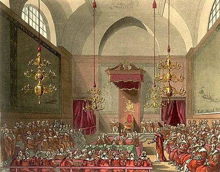 The House of Lords of the United Kingdom of Great Britain and Ireland (old chamber, burned down in 1834) as drawn by Augustus Pugin and Thomas Rowlandson for Ackermann's Microcosm of London (1808-1811). House of Lords Microcosm edited.jpg