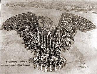 Fort Gordon - The Human American Eagle, taken at Camp Gordon, 1918, 12,500 people
