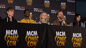 Humans (TV series) - Humans panel at MCM London Comic Con with Tudor, Dirisu, Berrington, Goodman-Hill and Chan.