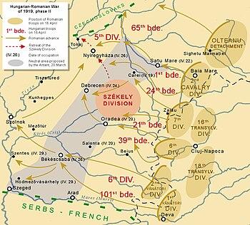 Hungarian-Romanian War of 1919, Romanian advance to Tisza - English