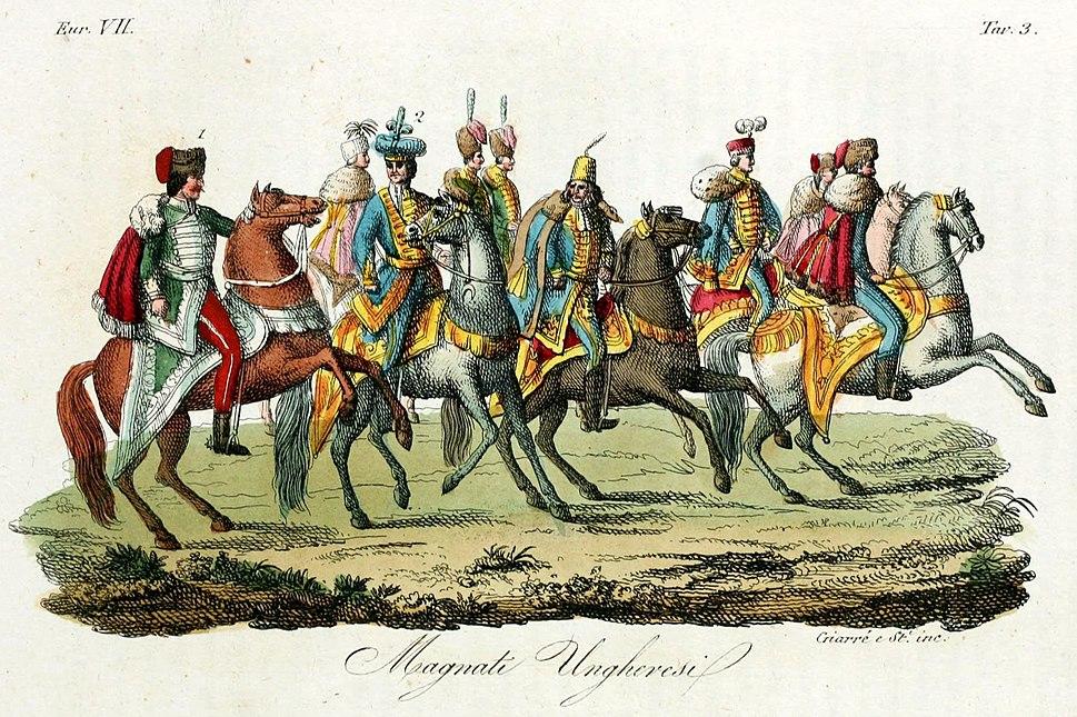 Hungarian knights, Illustration for Il costume antico e moderno by Giulio Ferrario 1831 (4)