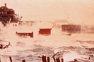 Hurricane Carol - Image: Hurricane Carol Storm Surge in color 1954