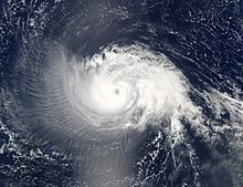 A picture showing the vast shield of cirrus clouds accompanying Hurricane Isabel in 2003.