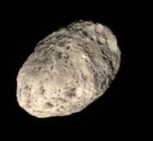 Hyperion (moon) - True-color image of Hyperion, taken by the ''Cassini'' spacecraft.