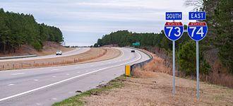 Interstate 73 - I-73/I-74 toward Ellerbe, NC