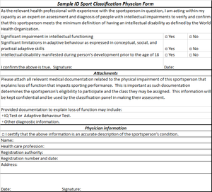 Disability sport classification - Sample form for use for medical classification for ID sports.