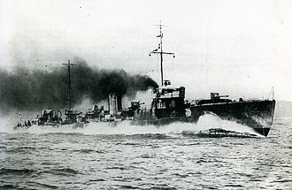 Japanese destroyer Tachikaze (1921) - Image: IJN Tachikaze on trials Taisho 10
