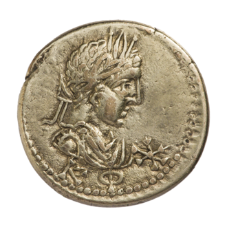 Bosporan era - Coin of Rhescuporis III with the Bosporan era date ΚΦ (i.e., 520, which is AD 223/4) below the effigy.