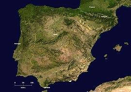 Δορυφορική εικόνα της Ιβηρικής χερσονήσου