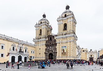 Monastery of San Francisco, Lima - Main Porch, in the baroque style, and towers of the San Francisco Church