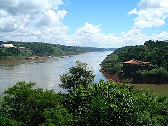 Iguazu River - The Iguazu (right) at its confluence with the Paraná (middle)