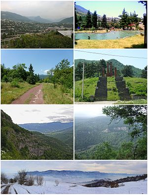 From top left: Ijevan skyline • Ijevan central park Ijevan Dendropark • World War II memorial Gugark Mountains • Ijevan Wildlife Sanctuary Winter panorama of Ijevan area