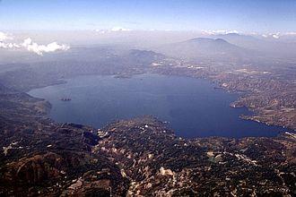 Lake Ilopango - Westward view from lake Ilopango, aft San Salvador Metropolitan Area and San Salvador (volcano) lie just ahead
