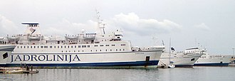 Jadrolinija - The Jadrolinija ferries MF Dubrovnik, MF Ivan Zajc (former ship) and MF Istra (former ship, scrapped) on dock in Split harbour