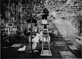 Robert Norman Bland - An illustration of the method used to photograph tombstones at the ruins of St. Paul's Church, Malacca for Bland's work Historical Tombstones of Malacca, 1905.