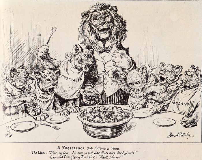 Much coverage was given to the stand taken by Bruce at the 1923 Imperial Conference. Imperial Conference 1923 Cartoon.png