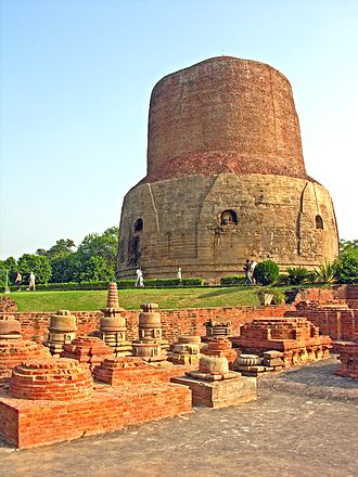 Stupa - Dhamek Stupa in Sarnath marks the spot where Buddha gave his first sermon.