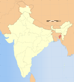 Location of Tripura in India