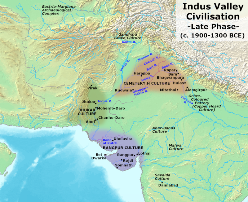 Indus Valley Civilization, Late Phase (1900-1300 BCE).png