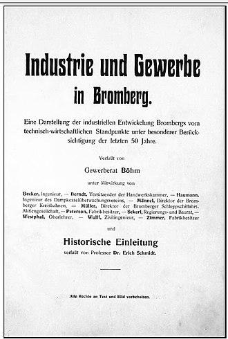 Fritz Weidner - Title page of Industrie und Gewerbe in Bromberg, ca. 1907