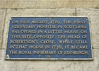Royal Infirmary of Edinburgh - Plaque marking the founding of the Infirmary