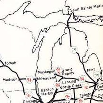 Interstate 94 in Michigan - 1958 planning map for Michigan's Interstate Highways
