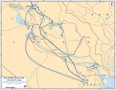 US invasion: 29 March - 7 April 2003 Iraq War 2003 Map2.PNG