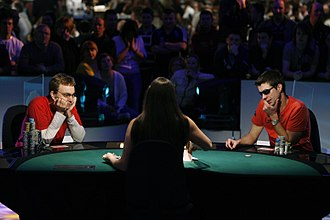 Irish Poker Open - Neil Channing, 2008 Irish Open Champion, headsup at the final table with Donal Norton (right)