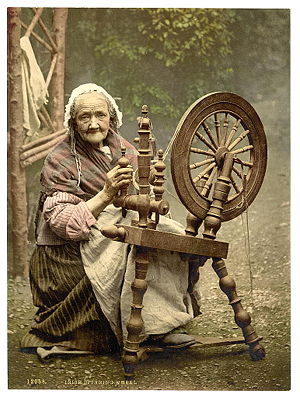 Irish spinning wheel. Note: This is a posed no...