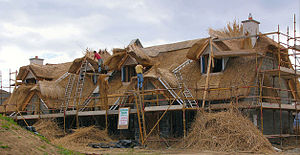 Kilmore Quay - Thatching at Kilmore Quay: a new house with original thatch being applied