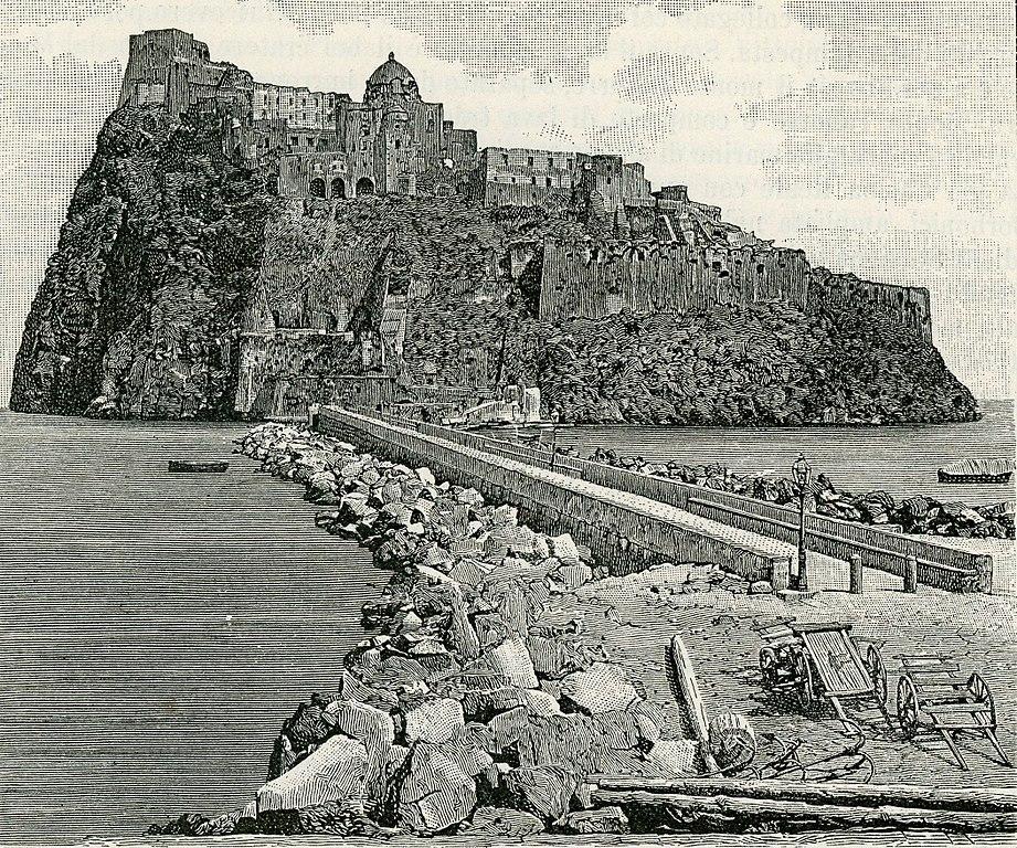 Vue sur le chateau aragonais d'Ischia au large de Naples (1894).
