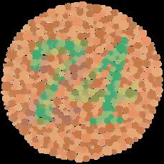 Στο τεστ Ισιχάρα ο αριθμός 74 γίνεται αντιληπτός από τους ανθρώπους με  φυσιολογική στα χρώματα όραση. Οι πάσχοντες από δυσχρωματοψία (δαλτονισμό)  διακρίνουν ... 5f9c7883bcf