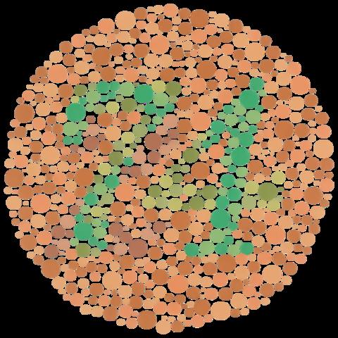 Den som är färgblind kan inte se att det står siffran 74 i bilden.