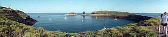 Columbretes Islands - Panoramic view of the bay of the largest island.