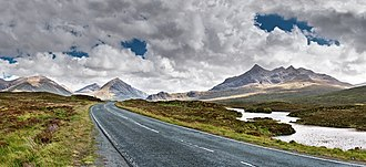 Cuillin - Views of the Cuillin Mountains on the A863 towards Sligachan on the Isle of Skye, Scotland.