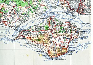 Transport on the Isle of Wight - A map of the island from 1945