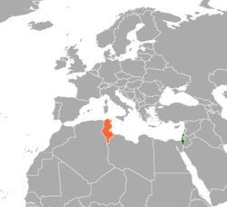 Map indicating locations of Israel  and  Tunisia