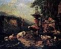 Italienische bergige Landschaft mit Herde und Hirten am Brunnen (Roos).jpg