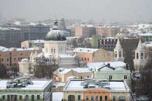 Ivanovsky Convent - View toward Kitai-gorod. Across from the main entrance stands the Prince Vladimir Church.