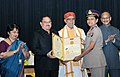 J.P. Nadda presenting the National Florence Nightingale Award to Maj. Gen. Annakutty Babu, Principal Matron Army Hospital Research & Referral (AHR&R), Delhi Cantt., on the occasion of the International Nurses Day.JPG