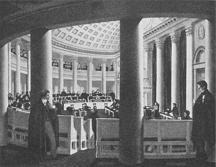 The Halbmondsaal at Stuttgart Ständekammer, venue of the first rump parliament meeting. Lithograph by Gustav Renz.