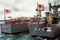 JS Tokachi (DE-218) and JS Ōi (DE-214) in Apra Harbor, -1 Apr. 1984 c.jpg