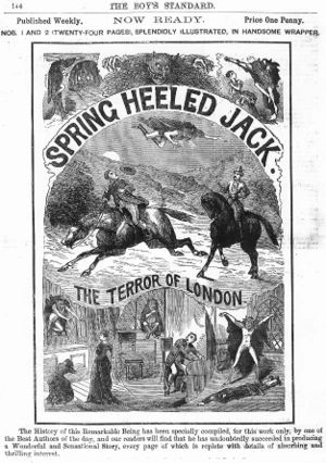 Spring-heeled Jack - Ad for Spring Heeled Jack, a penny dreadful (1886)