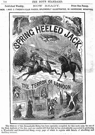 """Penny dreadful - Advertisement for an 1886 penny dreadful of Spring Heeled Jack, """"the terror of London"""""""