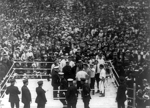 Dempsey and Carpentier in the arena before the fight Jack Dempsey v Georges Carpentier cph.3b35134.jpg